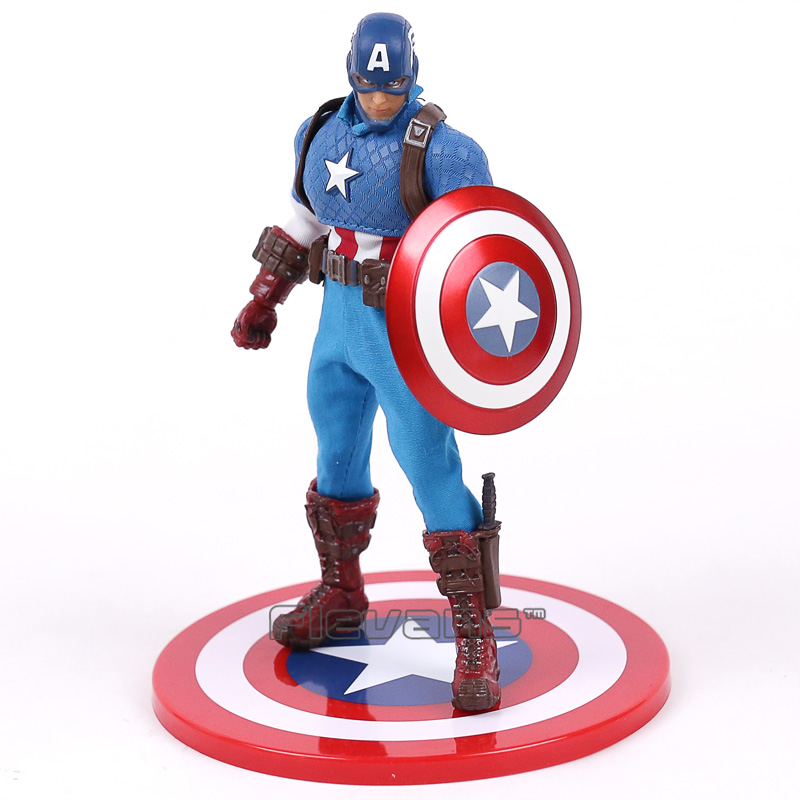 Marvel Super Hero Avengers Captain America 1/12 Scale PVC Action Figure Collectible Model Toy 16cm the avengers 2 captain america 1 6 scale movable pvc action figure collectible model toy doll 32cm hot
