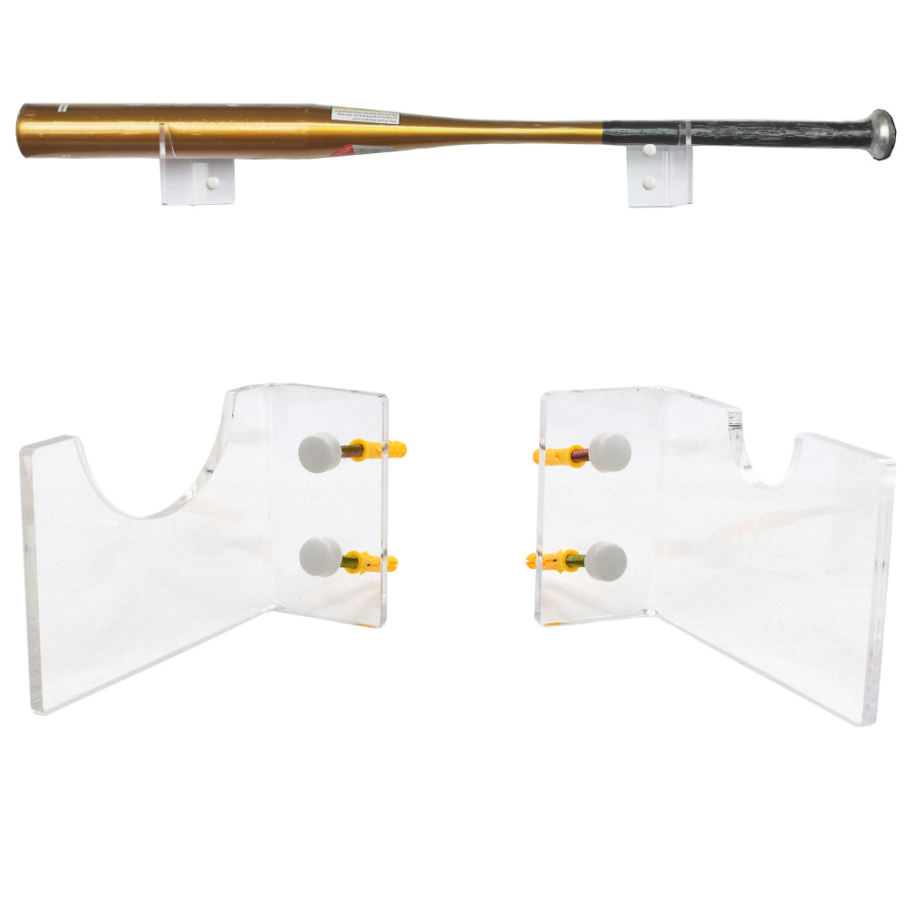 Baseball Bat Wall Mount Wall Holder Clear Acrylic - No Bat Included