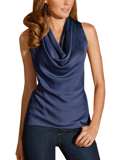 b056a46132dcac Sleeveless Plus Size Silk Cowl Blouse Wrap Top Elegant Navy blue blouse  Fashion Woman Pullover Spring Office Wear