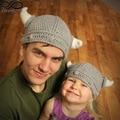 Lovely Warm Winter Parent-child Handmade Baby Girl Boy / Adults Horn Crochet Wool Hat Knitted Soft Beanie Cap