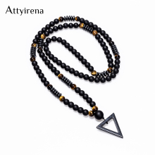 2018 New Design Long Necklac 8MM Tiger Stone Bead Black Men's Hematite Triangle Pendants Necklace Fashion Geometry Jewelry