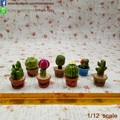 7 Pcs Dollhouse Miniature Prickly Pear  Handcrafted  Cactus Plants Fairy Garden  Decor Artificial Plants 1:12 Scale