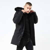 titotato winter jacket men long cotton clothing hooded thick men's winter jacket windproof cotton Men's jacket black Men's Park