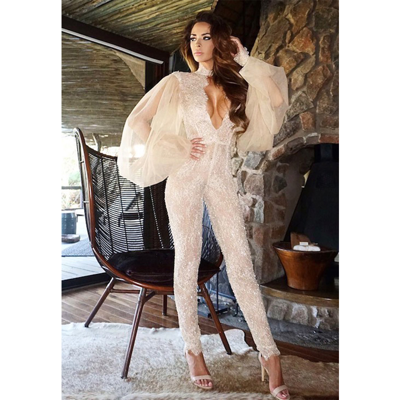 New Fashion Hot Selling White Lace With Voile Women   Jumpsuit   Cut Out High Neck Wedding Evening Party Outfit Clothing Wholesale