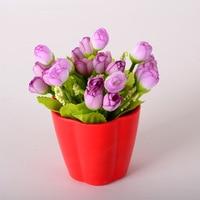 vase/ Wholesale Mini simulation flower rose buds dried flower decorative bonsai flower set artificial flowers cheap quality