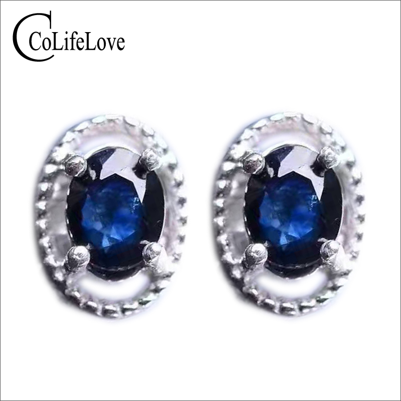Classic silver sapphire stud earrings 4 6mm 1ct natural dark blue sapphire gemstone earrings solid 925