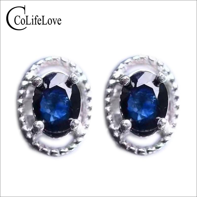 Classic silver sapphire orecchini 4*6mm 1ct scuro naturale blu zaffiro della pietra preziosa orecchini solido 925 silver zaffiro gioielli-in Orecchini da Gioielli e accessori su  Gruppo 1