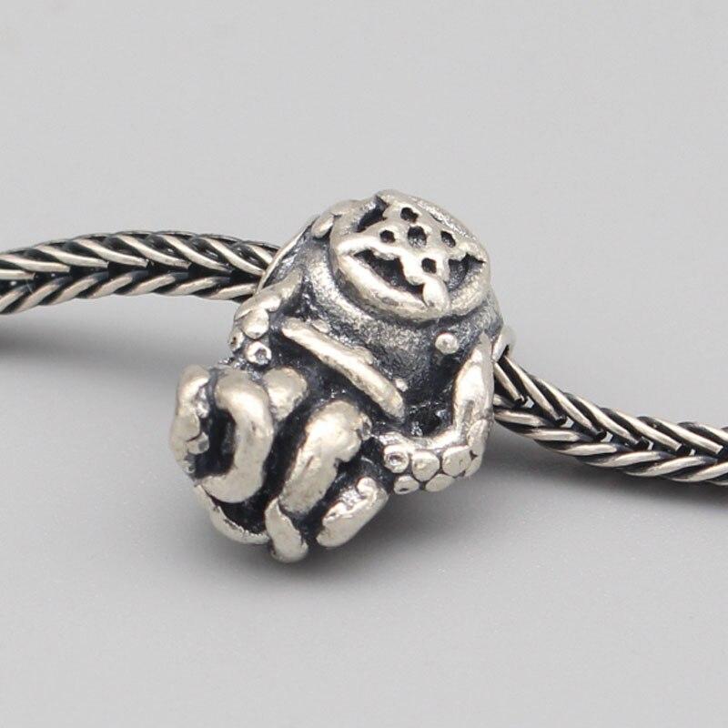 Vintage 925 perles en argent Sterling poulpe pendentif breloques s'adapte à la marque de bricolage européenne 3mm Troll Bracelet et collier bijoux - 6