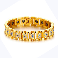 Women Hematite Magnetic Bracelet Gold color Stainless Steel Chain With Zircon Stone