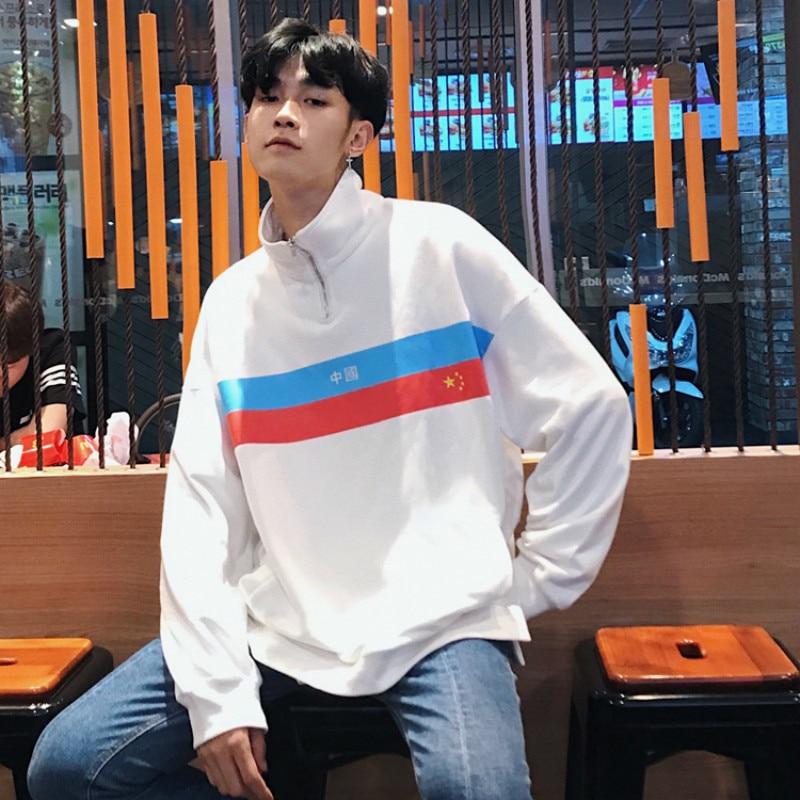 2018 hommes nouveau vêtements impression pull lâche mode marque manteau à capuche Zipper Hoodies décontracté blanc/bleu Sweatshirts - 5