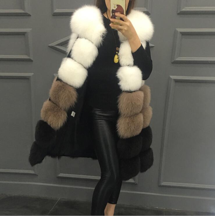 Nouveau Haute Faux 3 Femmes Moyen Veste Couleurs 2017 2 De long Fourrure style Manteau Imitation Mélangées 1 Mode Gilet PiOkuZTwX