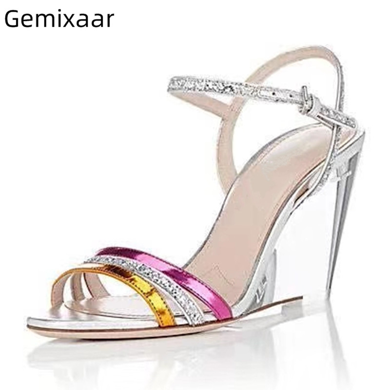 Clear Wedges Sandals Shoes Women Round Toe Narrow Strap High Heel Sandalias Summer New Coming Thin Buckle Wedges Sandals Woman