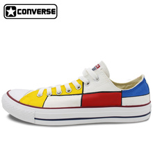 Low Top All Star Converse Shoes Mondrian Custom Design Hand Painted Shoes Men Women Sneakers Classic Gifts