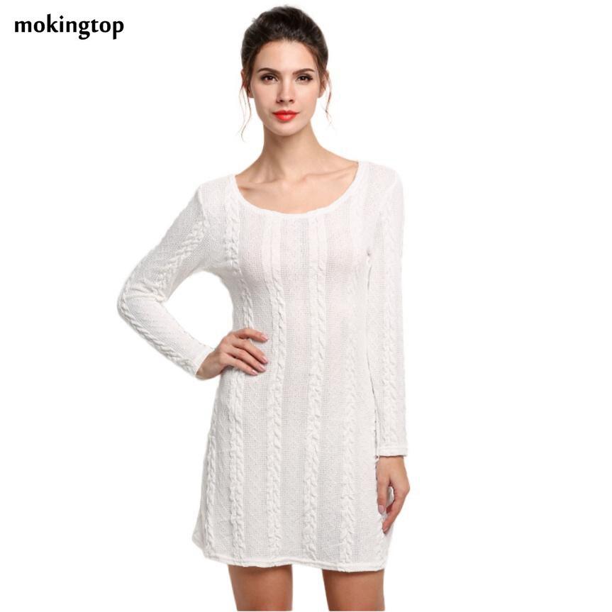 mokingtop Knitted Dress Loose Long Sleeve Casual Winter Autumn Outwear Warm Mini Dress Robe Femme#A11