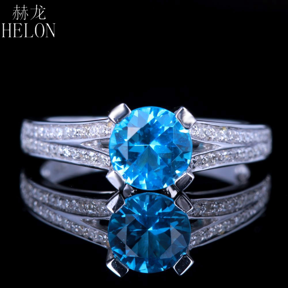 HELON Sterling Silver 925 0.9ct Certified Round Genuine Natural blue topaz Diamonds Ring Engagement Wedding Women Fine JewelryHELON Sterling Silver 925 0.9ct Certified Round Genuine Natural blue topaz Diamonds Ring Engagement Wedding Women Fine Jewelry