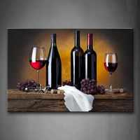 1 Pics Framed Wall Art Picture Grape Wine Bottle Cups Canvas Print Food Posters With Wooden Frames For Home Office Decor