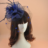Panna młoda Gaza Welon Kapelusz Spinka Klips Do Włosów Dla Kobiet Kwiat Fascinator Nakrycia Głowy Dla Banquet Party Dress Bridemaid Ślub Chluba