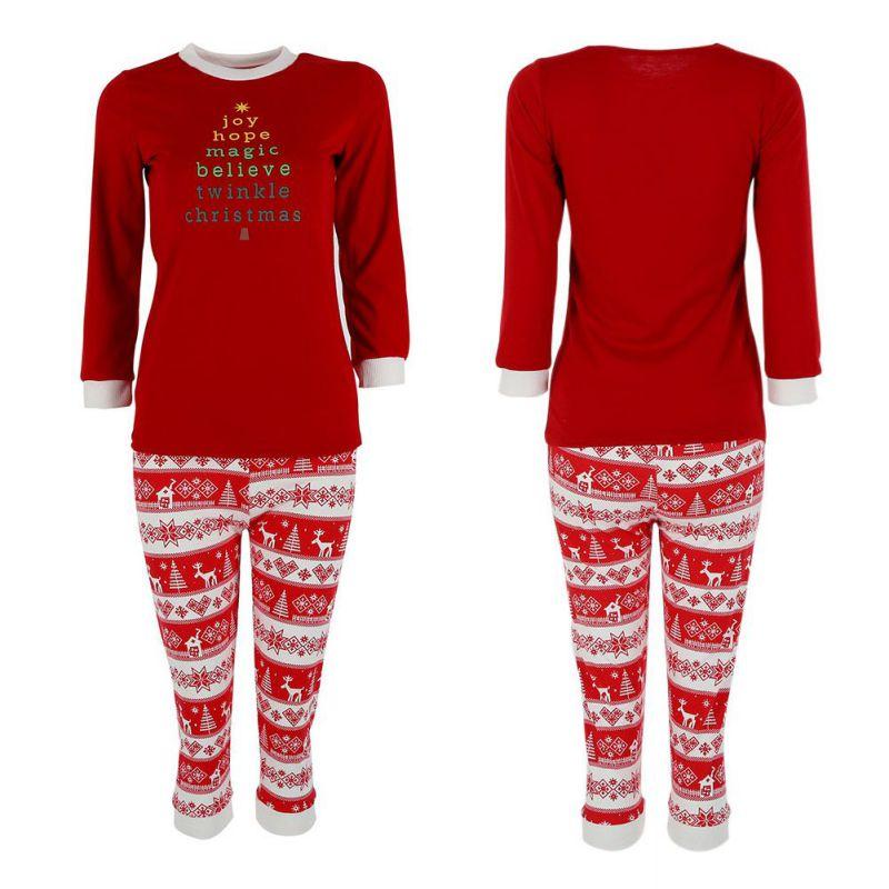 Women Men Autumn Sleepwear Nightwear Lastest Christmas Cotton Letter Print Family Pajamas