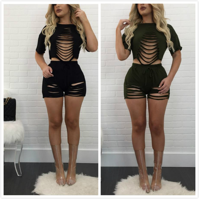 Aliexpress.com  Buy BKLD 2017 Summer Sexy Two Piece Outfits Casual Women Short Sleeved Crop ...