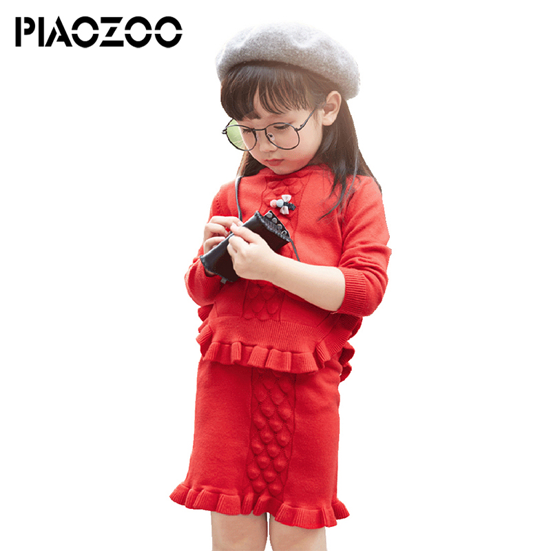 Autumn girl cute clothes Long Sleeve cotton top Ruffle dress girl knitted sweater pencil Bodycon mini skirt suit 2pcs set P20 buff бандана buff frozen child polar buff one size olaf blue navy