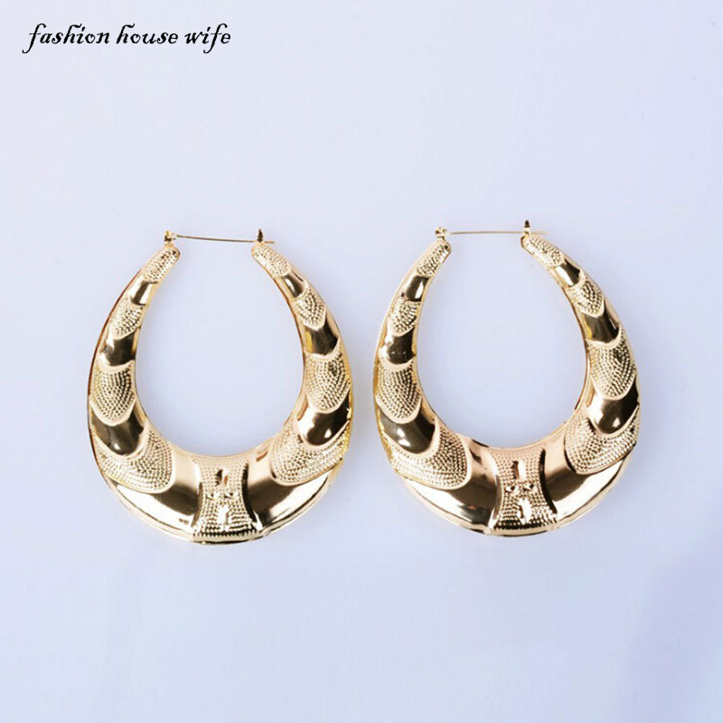 Fashion House Wife Fashion Basketball Wives Hoop Earrings Pattern Big Large Gold Circle Earring For Women Jewelry Gift LE0053