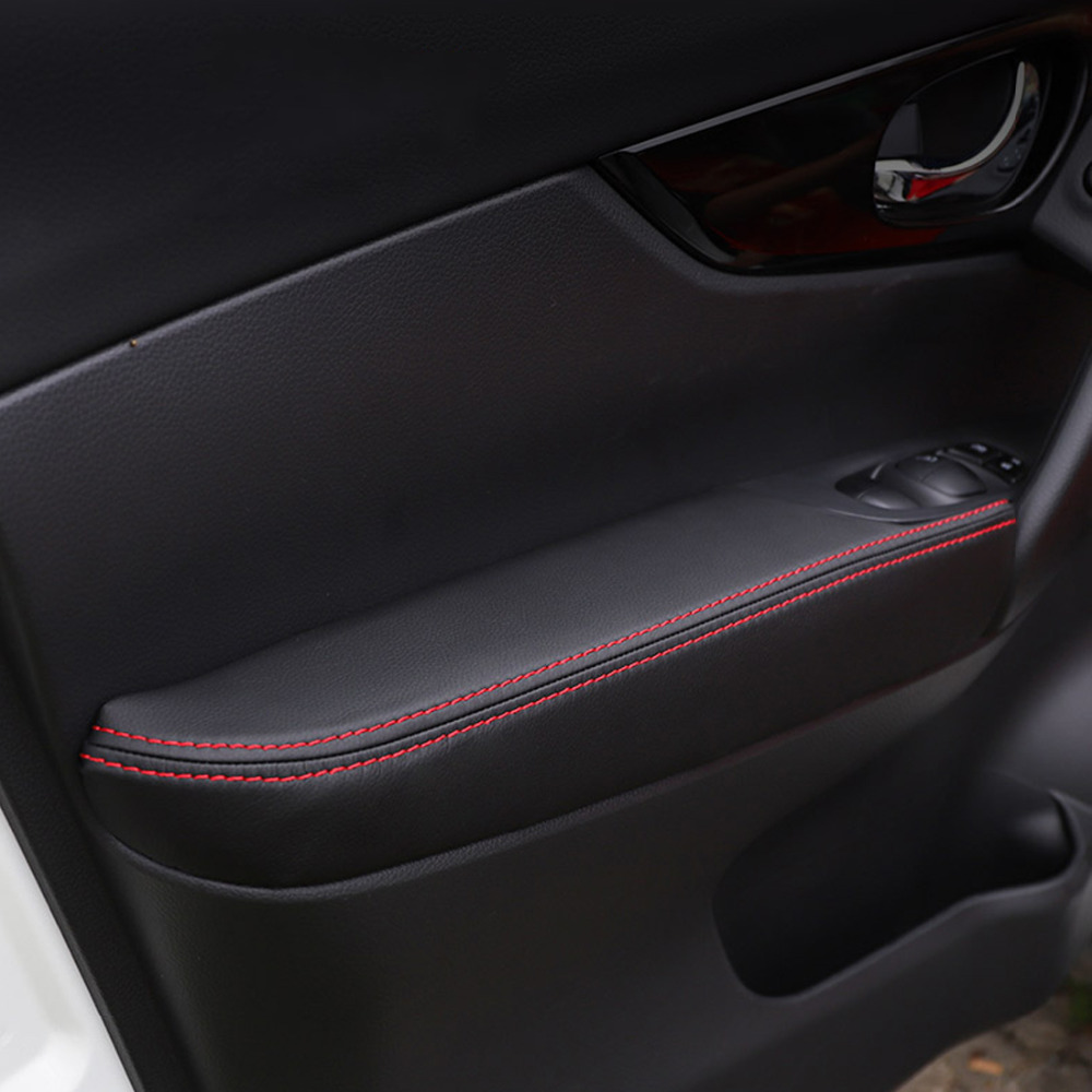 Image 1 - Soft Leather Door Armrest Panel Cover For Nissan Qashqai J11 2016 2017 Interior Door Armrest Surface Cover For Qashqai 2018 2019-in Armrests from Automobiles & Motorcycles