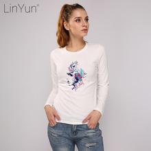 LINYUN Trendy Colorful Flower Long Sleeve Kids Top Tee Shirts Women Casual 100% Cotton T-shirts Girls Slim Fit Suits Female