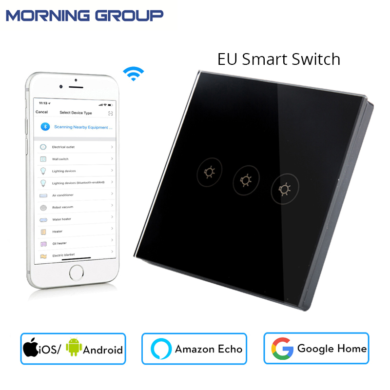 Wifi Smart Wall Switch EU Socket 3 Gang Touch Control Mobile Phone Remote Control can Work with Amazon Alexa Google Home