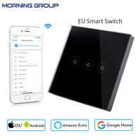Wifi Smart Wall Switch EU Socket 3 Gang Touch Control Mobile Phone Remote Control Can Work