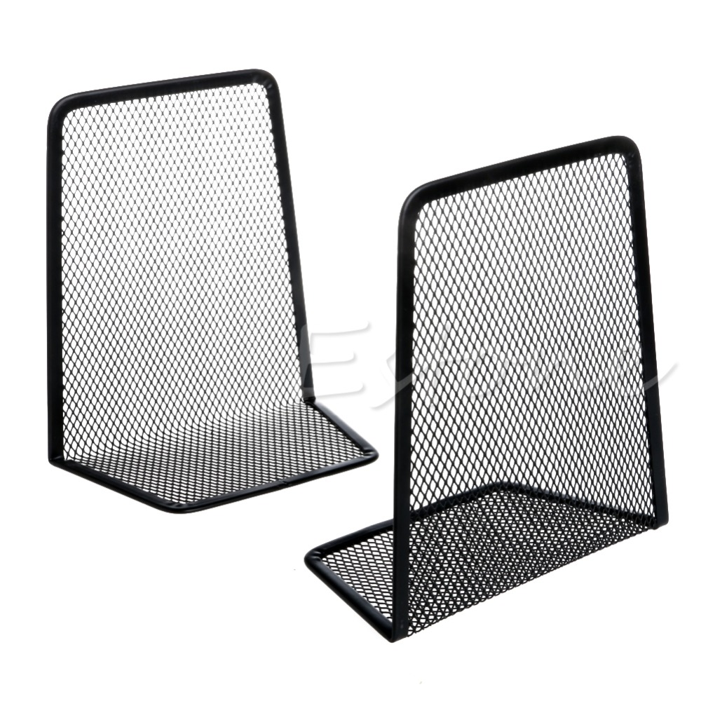 1 Pair Metal Mesh Desk Organizer Desktop Office Home Bookends Book Holder Black