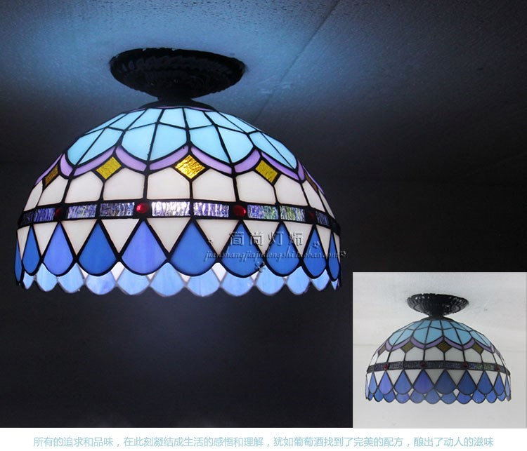 The LED blue Tiffany Ceiling Lights living room balcony window aisle porch lamp lighting creative personality Ceiling lamp mini porch corridor ceiling lamp for front balcony porch mini flush mount modern led home indoor lighting ac110 240v