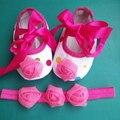 Новорожденных детская обувь девушки и тиара повязка на голову комплект, Принцесса малыша девушка обувь, Девушки детские скрипучие ботинки