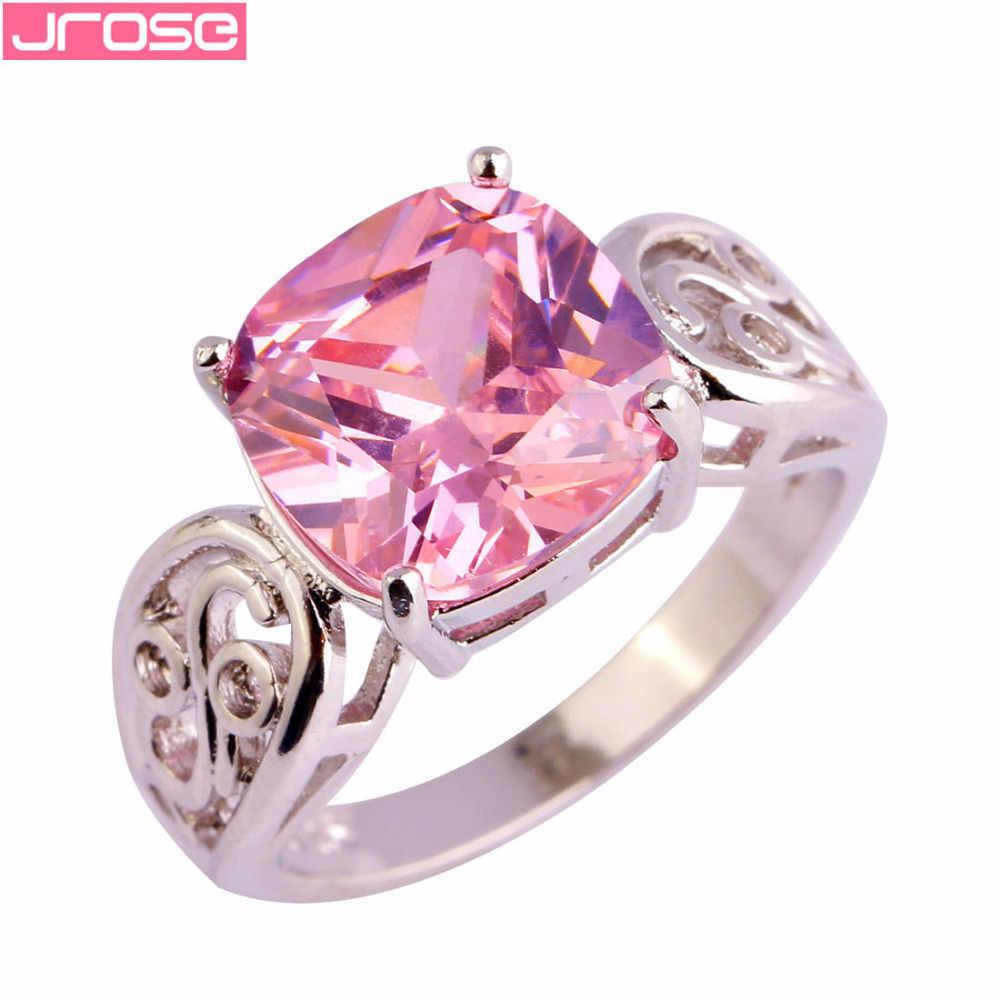 JROSE ขายส่ง Gorgeous แฟชั่นเจ้าหญิงสีชมพู CZ แหวนขนาด 6 7 8 9 10 11 12 หมั้นเครื่องประดับที่สวยงาม