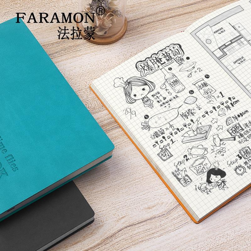 FARAMON Checkered Notebook Thick Notepad Grid Book 1PCS