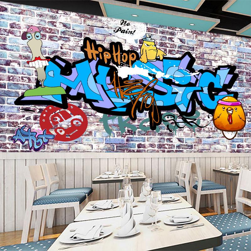 Custom mural  3D Personality style graffiti mural coffee  shop restaurant bar wallpaper retro wall brick style wallpaper mural
