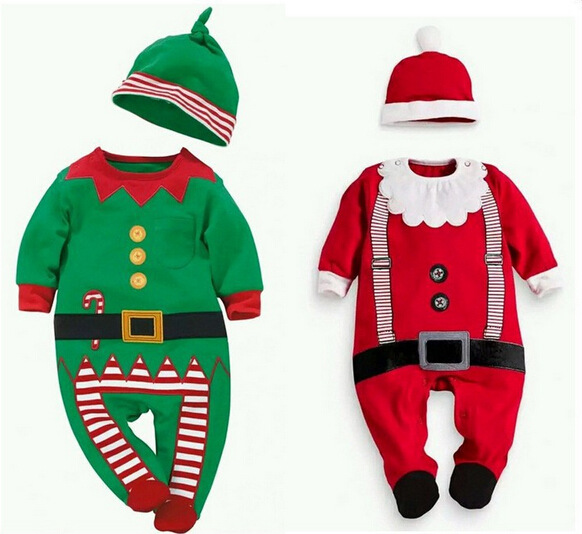2017 Christmas baby outfits set + hat / green and red and white /romper with long sleeves