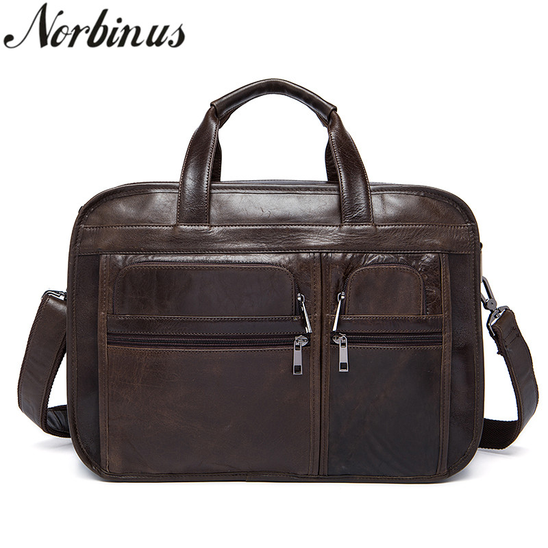 Norbinus Genuine Leather Men Briefcase Large Capacity Business Laptop Bags Casual Shoulder Messenger Bags Male Handbags Pack