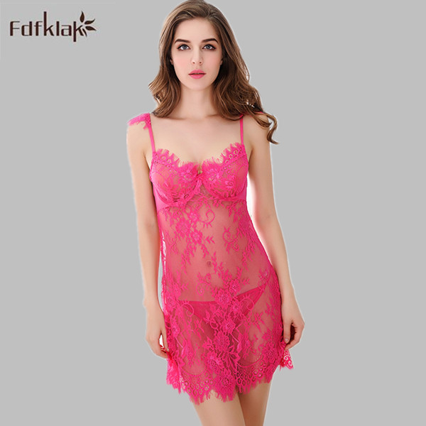 Lace Sexy Lingerie Backless Short Slim Nightgowns Women Sleeveless ...