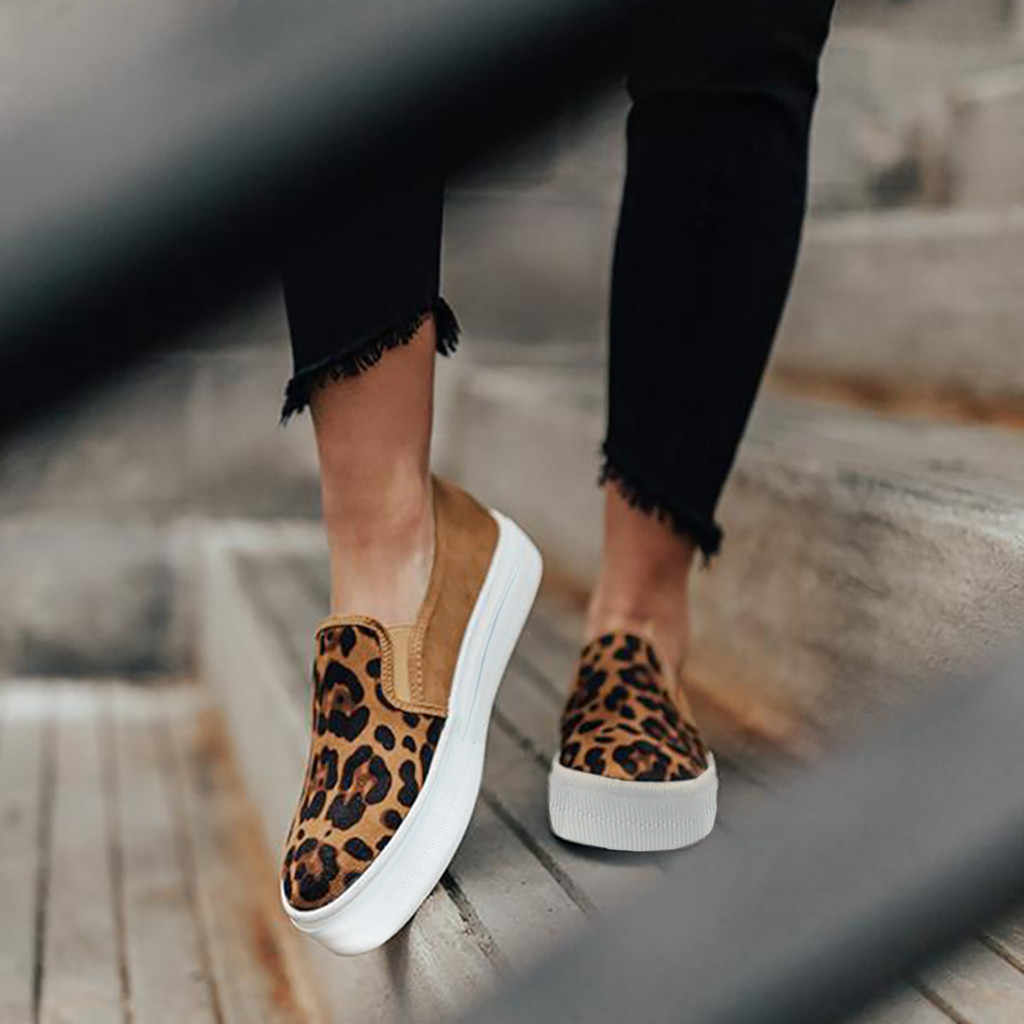 SAGACE Flats schoenen vrouwen casual Platform Schoenen vrouw Loafers Mode Luipaard Romeinse Canvas Schoen Dames Ronde Teen Lui Schoen