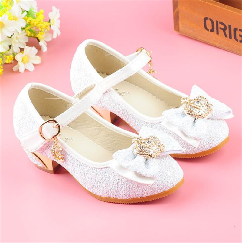 Weoneit 2019 New Girls High Heels Children Princess Shoes Sequin Bowtie  Fashion Kids 3 Colors School Wedding Dance Shoes Enfant-in Sandals from  Mother ... fa12cd7f1017