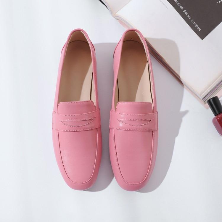 MLJUESE 2019 femmes appartements en cuir de vache sans lacet couleur rose chaussures plates printemps automne confortable décontracté appartements fête de mariage