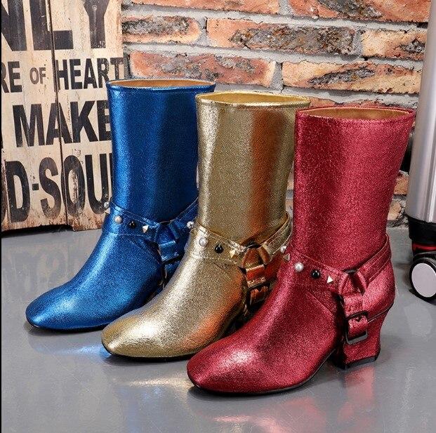 Bling gold Pour Fluorescence Hauts 2018 Mi Red Bottes Chaussures Perle Chaussons mollet Coin blue Décor Femmes De Brillant Talons Court Rivets S34AL5Rqcj