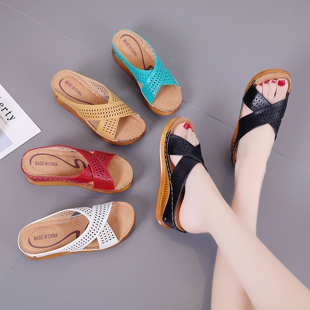 Women's Fashion Casual Slip On High Heels Thick Platforms Shoes White Black Red Blue Brown Outdoor Sandals  Cross Tied 35-40