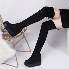 2019 Winter Women High Boots Fashion Hidden Heel Woman Long Boot