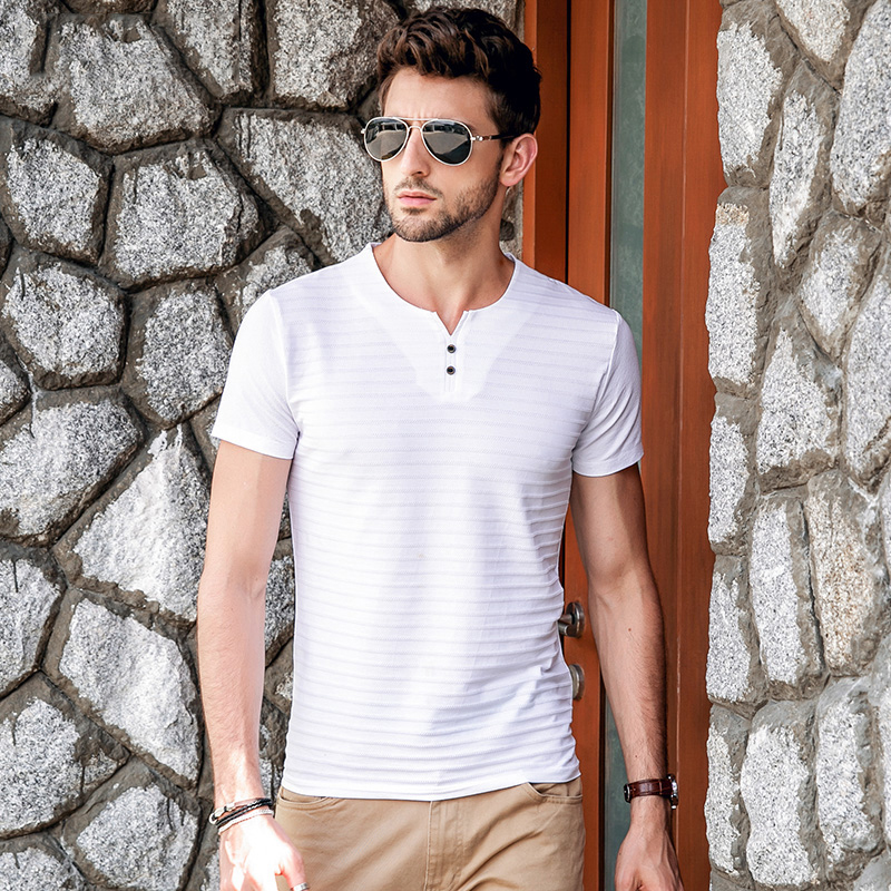 T-shirts Gustomerd 2018 New Mens T-shirts Summer V-neck Solid Color Striped Casual Short-sleeved T Shirt Men Brand Cotton Tee Shirt Men Men's Clothing