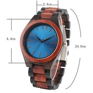 Image 3 - 2017 mode Holz Uhren Full Holz Band Sapphire Blau/Dunkelbraun Gesicht Quarzuhr Handgemachte Armbanduhren Mann Frau Geschenke