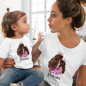 Image 3 - 2020 moda mãe filha roupas combinando casual princesa imprimir família t camisa combinando mãe filha roupas femininas tshirt