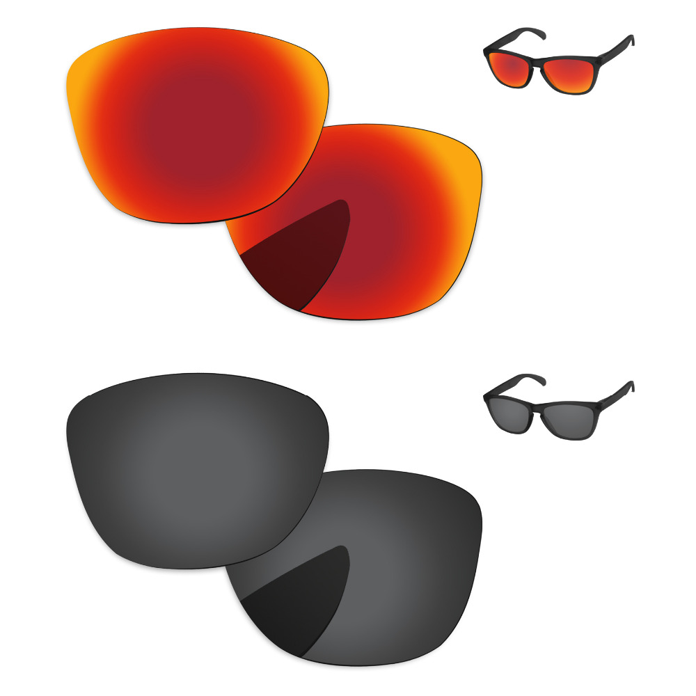 Black & Fire Red 2 Pairs Polarized Replacement Lenses For Frogskins LX Sunglasses Frame 100% UVA & UVB Protection