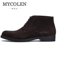 MYCOLEN Winter Genuine Leather Men Boots Vintage Style Autumn Men Shoes Leisure Lace up Male Boots Zapatos De Los Hombres