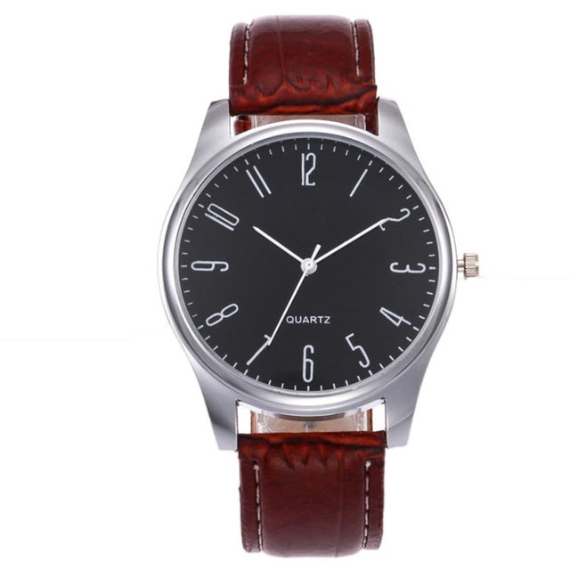 Timezone#502 Fashion Simple Mens Watch Business Fashion Leather Quartz Wrist Watch